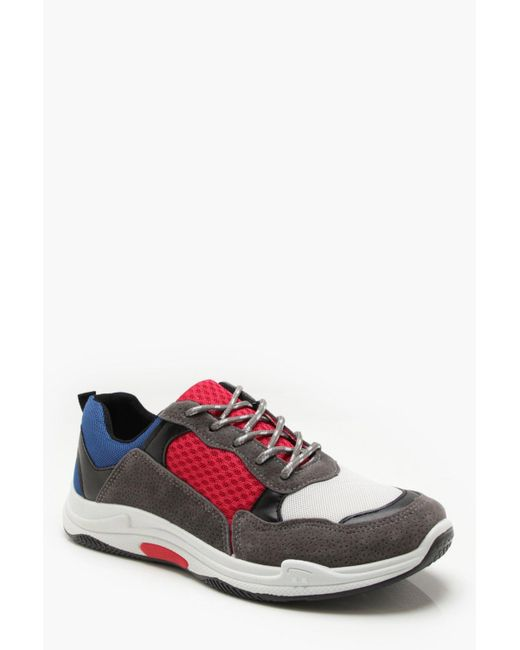 Boohoo - Red Faux Suede Colour Block Chunky Trainers for Men - Lyst