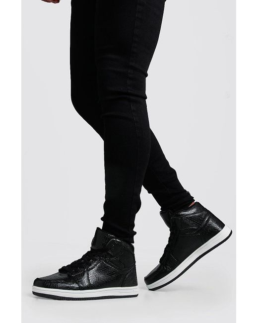 BoohooMAN - Black Faux Snakeskin Sporty Hi Top for Men - Lyst