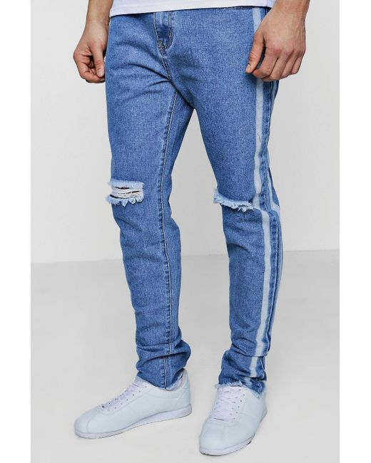 Boohoo - Blue Slim Fit Jeans With Bleached Side Stripe for Men - Lyst