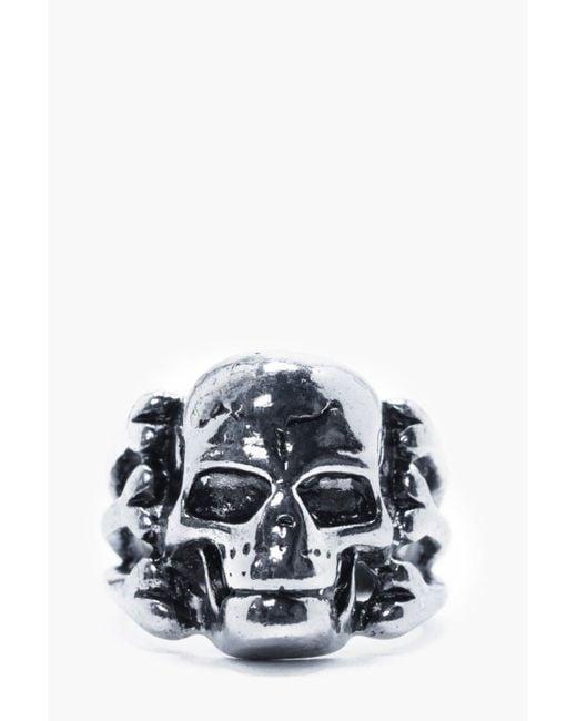 Boohoo   Metallic Sliver Skull Ring for Men   Lyst