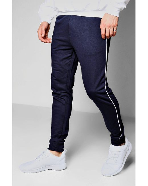 Boohoo | Blue Super Skinny Jogger With Piping for Men | Lyst
