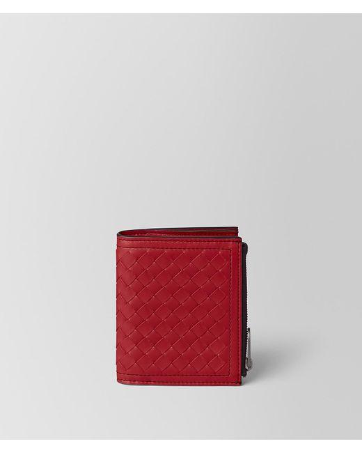 Bottega Veneta - China Red Intrecciato Calf Wallet - Lyst