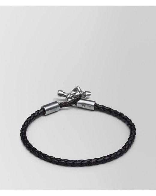 Bottega Veneta - Black Bracelet In Nero Intrecciato Nappa And Silver - Lyst