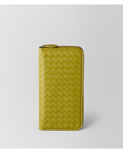 Bottega Veneta - Green Chamomile Intrecciato Nappa Zip Around Wallet - Lyst