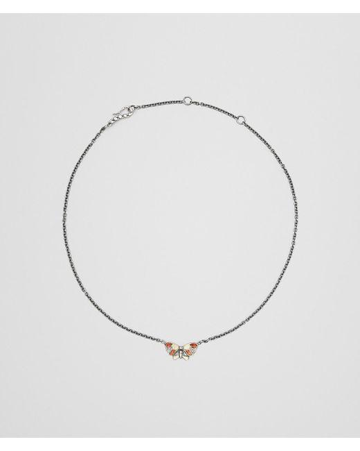 Bottega Veneta - Metallic Multicolor Antique Silver Butterfly Necklace - Lyst