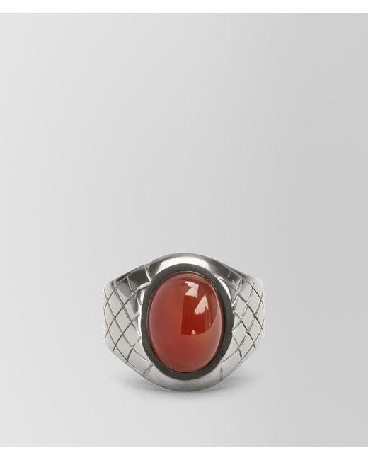 Bottega Veneta - Metallic Ring In Silver And Corniola Stones, Intrecciato Detail for Men - Lyst
