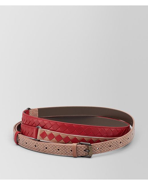 Bottega Veneta - Dahlia/china Red Intrecciato Check Belt - Lyst