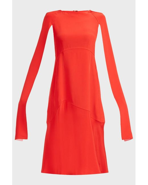89de102b5e ... CALVIN KLEIN 205W39NYC - Red Cape-sleeve Silk-cady Dress - Lyst
