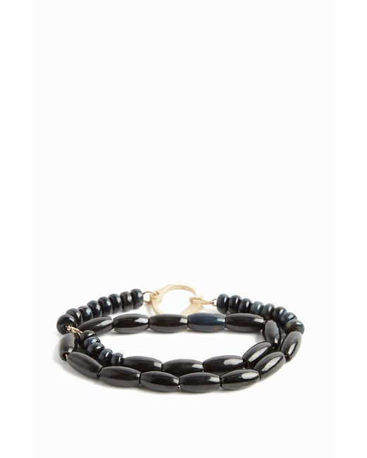 Luis Morais - Black Yellow-gold Beaded Handcuff-clasp Bracelet, Os - Lyst