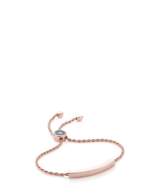 Monica Vinader | Blue Linear 18ct Rose Gold-plated And Amazonite Bracelet | Lyst