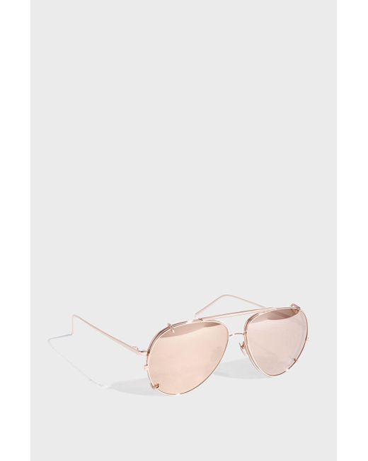 Linda Farrow - Pink Aviator-style Rose Gold-tone Sunglasses - Lyst