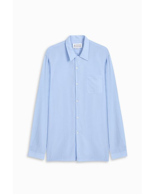 Maison Margiela | Blue Half Zip Button Shirt for Men | Lyst
