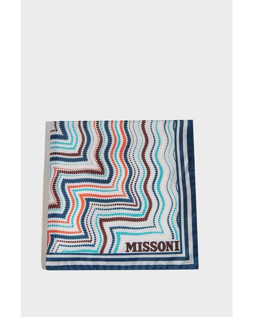 Missoni - Blue Printed Silk Scarf - Lyst