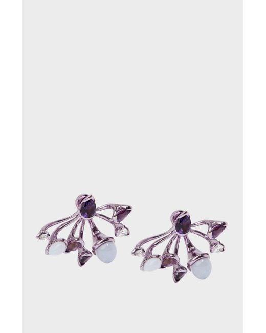Fernando Jorge   Multicolor Calyx Lilac-coated 18-karat Gold Diamond, Amethyst And Chalcedony Earrings   Lyst
