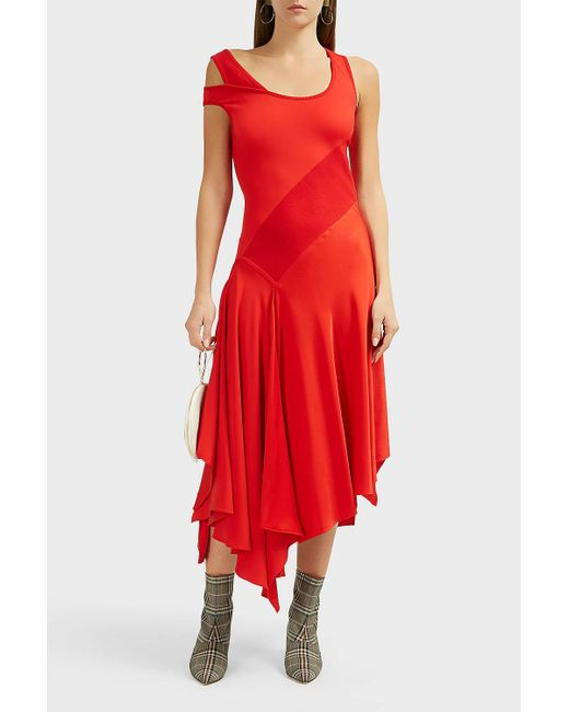 Monse Red Patchwork Tank Crepe-satin Dress