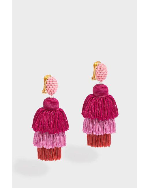 Oscar de la Renta - Pink Long Silk Tassel Earrings - Lyst
