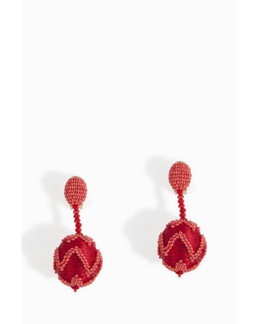 Oscar de la Renta | Red Chevron Ball Earring | Lyst