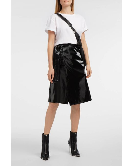 Helmut Lang - Black Cotton-blend Vinyl Wrap Skirt - Lyst