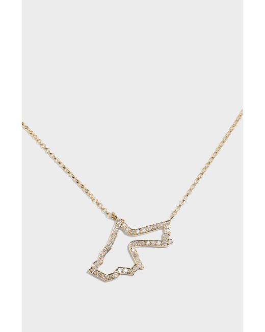 TIBA | Metallic Jordan Map Outline Necklace | Lyst