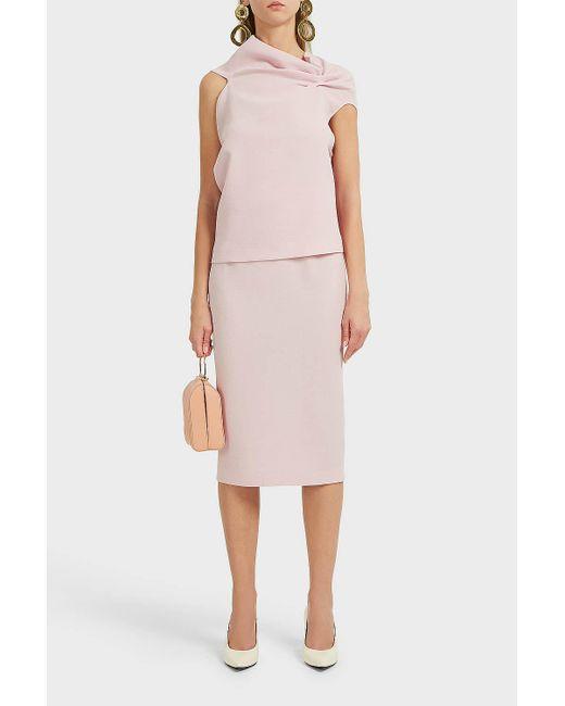 Roland Mouret - Pink Arreton Wool-crepe Skirt - Lyst