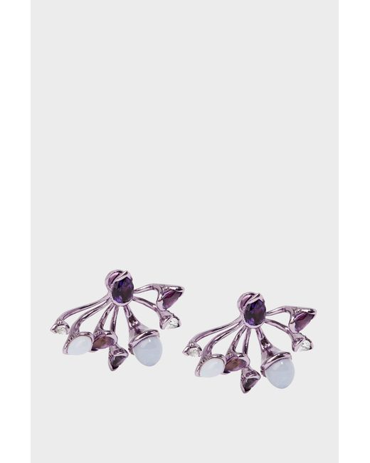 Fernando Jorge - Purple Lilac-coated 18-karat Gold Diamond, Amethyst And Chalcedony Earrings - Lyst