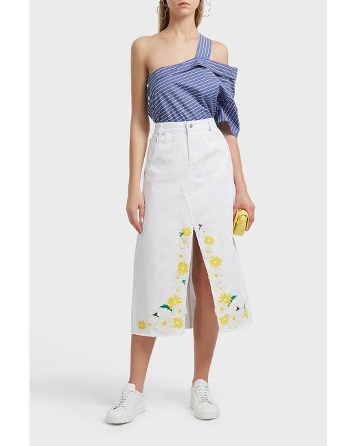 SJYP - Blue Frayed Embroidered Denim Skirt - Lyst