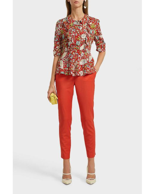 Paul & Joe - Red Ruffled Printed Crepe Peplum Blouse - Lyst