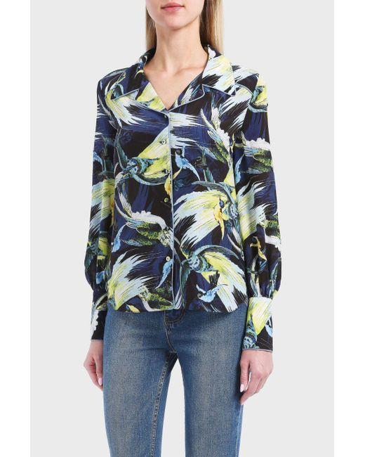 Erdem | Blue Faye Night Bird Silk Top | Lyst