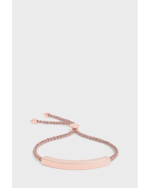 Monica Vinader - Pink Linear Friendship Bracelet, Size Os, Women, Metallic - Lyst