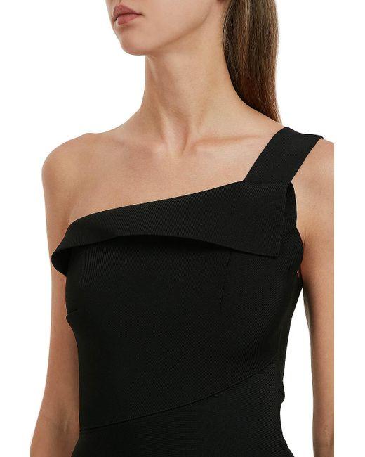 456ce6047ad ... Roland Mouret - Black Hepburn One-shoulder Stretch-knit Dress - Lyst ...