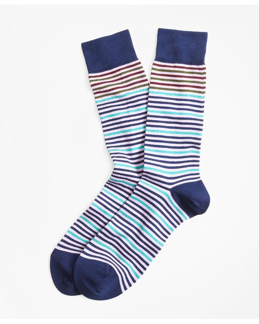 Brooks Brothers - Blue Striped Crew Socks for Men - Lyst