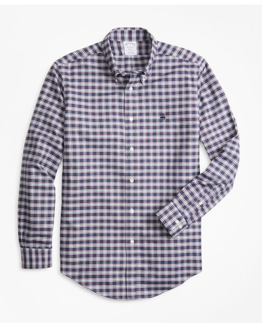 Brooks Brothers - Blue Non-iron Regent Fit Heathered Check Oxford Sport Shirt for Men - Lyst