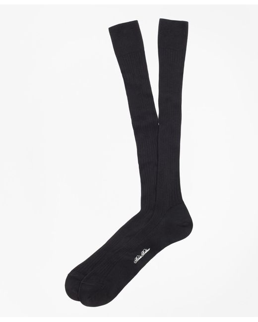 Brooks Brothers | Black Pima Sized Over-the-calf Socks for Men | Lyst