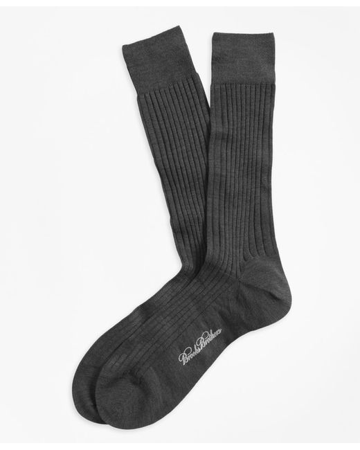 Brooks Brothers | Gray Merino Wool Ribbed Crew Socks for Men | Lyst