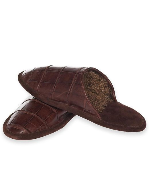 Brooks Brothers | Brown Crocodile Slippers for Men | Lyst