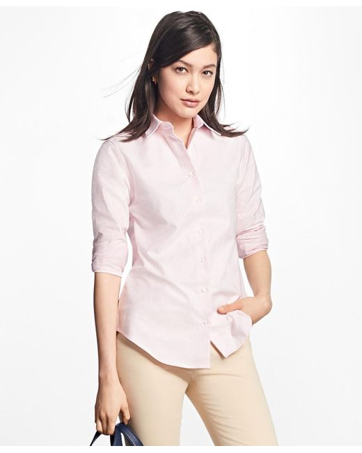 Brooks Brothers | Pink Classic-fit Supima® Cotton Oxford Stripe Forward-point Shirt | Lyst