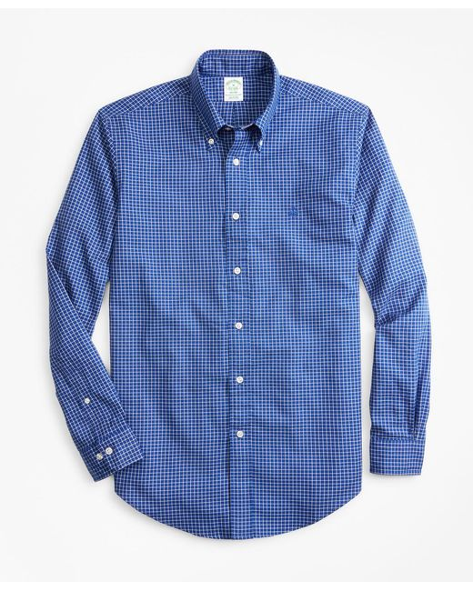 Brooks Brothers - Blue Milano Fit Mini-windowpane Brushed Oxford Sport Shirt for Men - Lyst