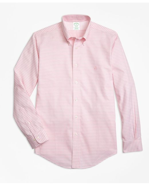 Brooks Brothers - Pink Non-iron Milano Fit Gingham Sport Shirt for Men - Lyst