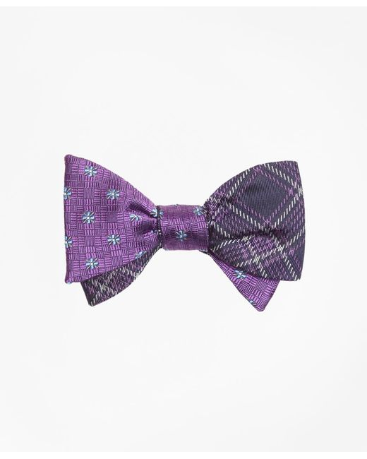 Brooks Brothers - Purple Parquet Flower With Plaid Reversible Bow Tie for Men - Lyst
