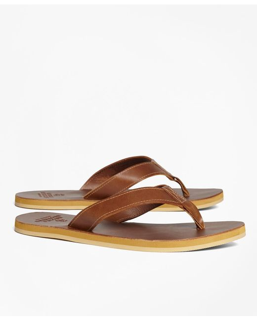 Brooks Brothers - Brown Leather Flip-flops for Men - Lyst