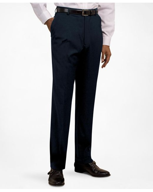 Brooks Brothers - Blue Plain-front Suiting Essential Stripe Trousers for Men - Lyst