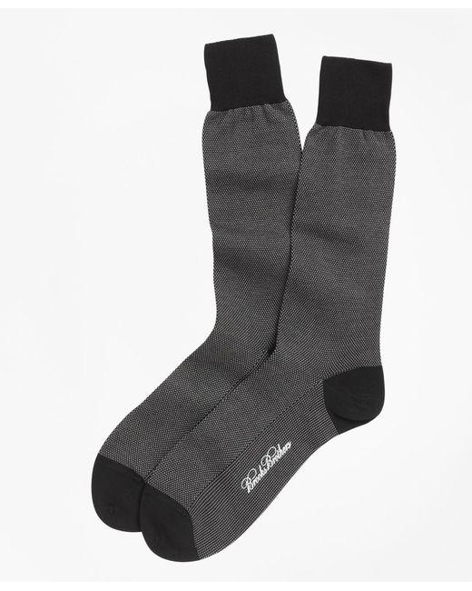 Brooks Brothers | Black Cotton Bird's Eye Crew Socks for Men | Lyst
