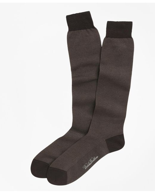 Brooks Brothers | Brown Cotton Bird's-eye Over-the-calf Socks for Men | Lyst