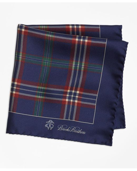 Brooks Brothers - Blue Signature Tartan Pocket Square for Men - Lyst