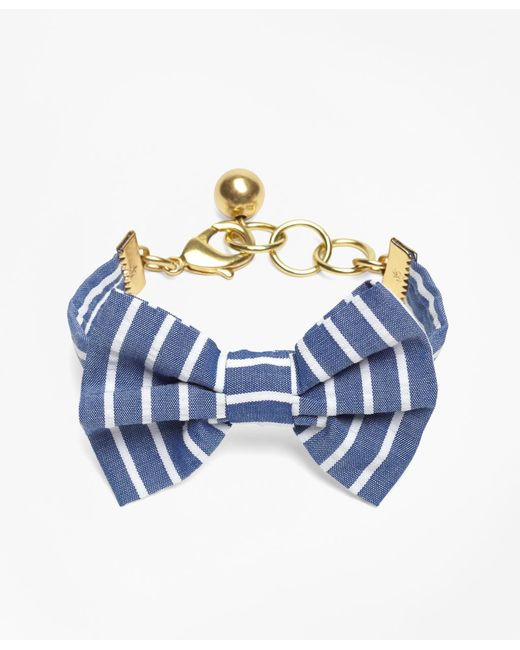 Brooks Brothers - Blue Kiel James Patrick Seersucker Stripe Bow Tie Bracelet - Lyst