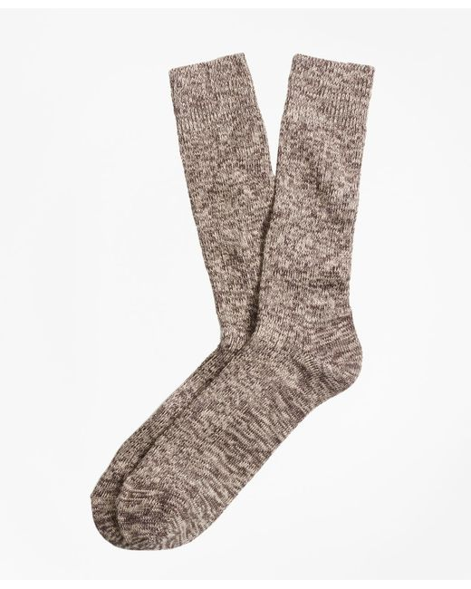 Brooks Brothers - Brown Marled Crew Socks for Men - Lyst