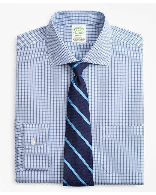 Brooks Brothers - Blue Stretch Milano Slim-fit Dress Shirt, Non-iron Two-tone Gingham for Men - Lyst