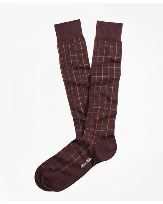 Brooks Brothers | Black Windowpane Over-the-calf Socks for Men | Lyst