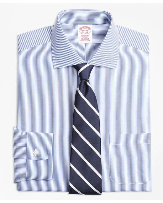 Brooks Brothers - Blue Non-iron Madison Fit Candy Stripe Dress Shirt for Men - Lyst