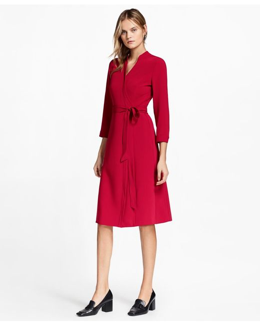 Brooks Brothers | Red Matte Satin Wrap Dress | Lyst